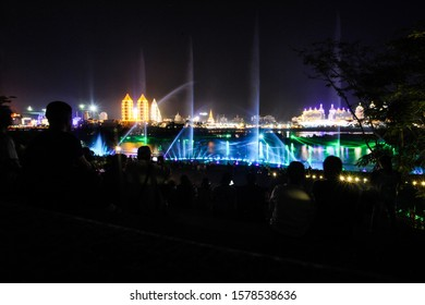 Nighttime light on the Mekong River in Xishuangbanna