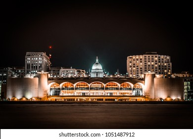 Nighttime Madison Wisconsin Capitol Building and Monona Terrace From Lake Monona