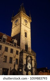 Nighttime, Old Town Hall with astronomical clock, Stare Mesto, Old Town of  Prague, Czech Republic