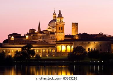 Nighttime panorama of historical Mantova, Nothern Italy