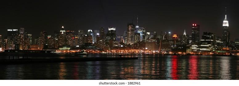 Nighttime Panoramic of Midtown Manhattan from Jersey