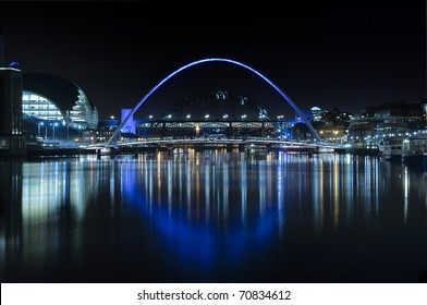 Night-time photograph of the bridges over the River Tyne in Newcastle upon Tyne/Gateshead.