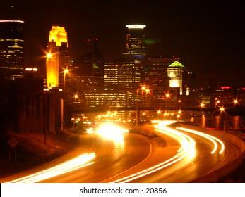 Nighttime traffic into Minneapolis, Minnesota.