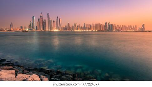 Nighttime view of Dubai Marina skyline in 2016