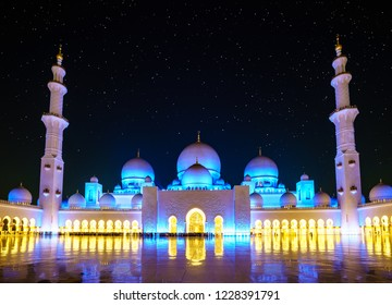 Nighttime view of inner court of Sheikh Zayed Grand Mosque in Abu Dhabi, UAE