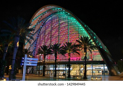 A nighttime view of the main entrance to the ARTIC train and bus station in Anaheim California