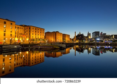 Nighttime view of Salthouse Docks next to the Albert Dock in the cultural quarter of Liverpool. Taken 11 June 2014 in Liverpool, Merseyside, UK