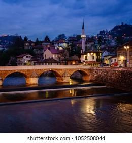 Nighttime view of Sarajevo city center and the Miljacka River