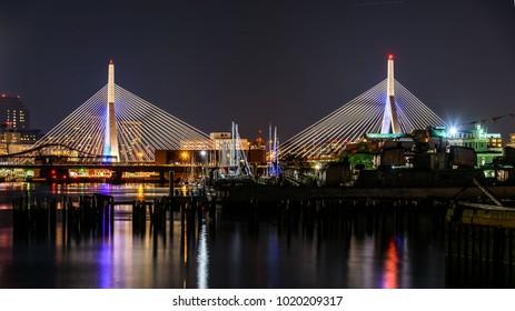 Nightview of a Bridge in Boston