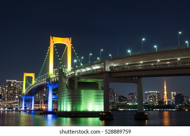 Nightview of Rainbow Bridge in Tokyo, Japan.