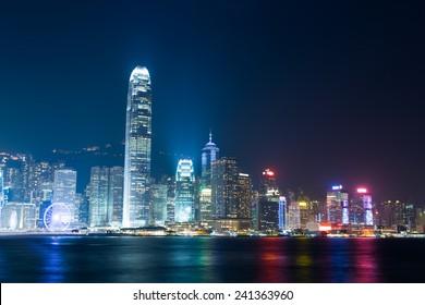 Nightview of Victoria Harbour in Hong Kong. (Hong Kong Island side view from Tsim Sha Tsui)