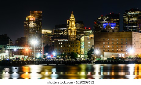Nightview of the waterfront of Boston, Massachusetts