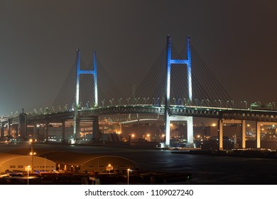Nightview of Yokohama Bay Bridge in Kanagawa, Japan.