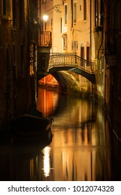 Nighty view of small venetian canal in Dorsorduro
