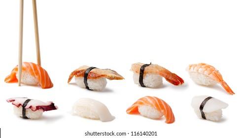 Nigiri Sushi on a white background