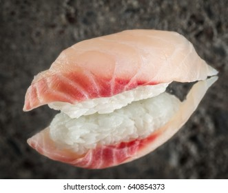 Nigiri sushi with sea bass