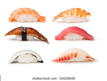 Nigiri Sushi set on a white background