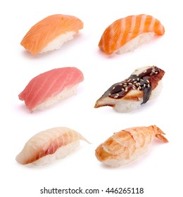 Nigiri Sushi Set, salmon, tuna, eel, shrimp, on a white background.