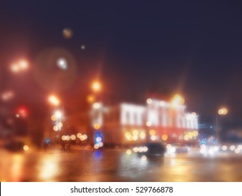 Nigth City Through The Car Window With Bokeh Effect