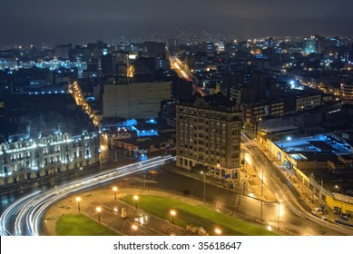 Nigth view on city center of Lima, Peru