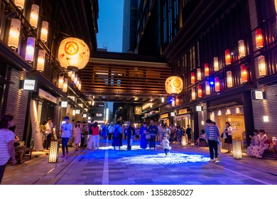 Nihonbashi, Japan - Aug 2018: COREDO Muromachi is a shopping center in a modern, yet traditional design inspired by the EDO period.During summer, digital fireworks mapping will be shown.