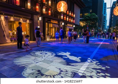 Nihonbashi, Japan - Aug 2018: Digital fireworks mapping at COREDO Muromachi,shopping center in a modern, yet traditional design inspired by the EDO period at Nihonbashi, Tokyo, JAPAN.