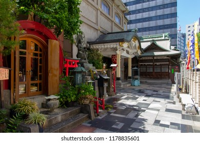 NIHONBASHI, TOKYO, JAPAN - APRIL 26, 2018. The Taiangakuji Buddhist Temple is located on the site of the infamous samurai prison known as Temma Town. The prison was finally moved out of central Tokyo