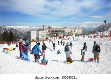 NIIGATA, JAPAN - MARCH 29 : Gala Yuzawa snow resort taken March 29, 2016. Gala Yuzawa is ski resort which is closest to Tokyo can reach by high speed train Shinkansen.