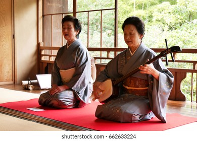 Niigata, Japan - Oct 29, 2015 : Japanese traditional singer and musician show in tea ceremony