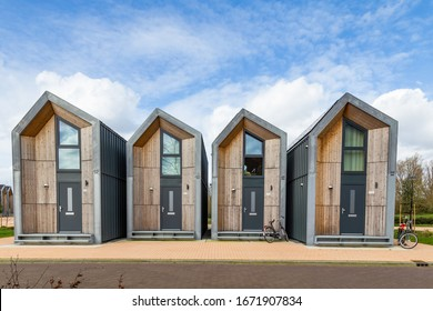Nijkerk, Netherlands,March 12, 2020: Eco friendly tiny houses in NIjkerk. 39 square meters surface for a sustainable living.
