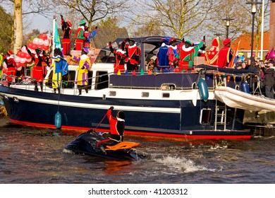 NIJKERK- NOVEMBER 14: Sinterklaas arrives in the harbor, a traditional event, november 14, 2009 in Nijkerk the Netherlands