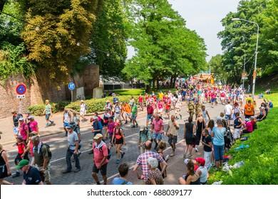 Nijmegen July 19 2017: 4Day Walking tournament contestants passing the Voerweg in the center of Nijmegen