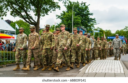 Nijmegen July 19 2017: US Military groep entering Nijmegen during the Flag parade of the 101st 4Days walking march