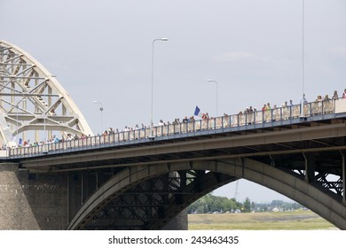 NIJMEGEN, THE NETHERLANDS  16 JULY 2013  People from all over the world walk over de bridge in Nijmegen around 50 kilometers per day, four days long. It is a yearly event in July.