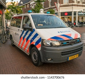 Nijmegen, The Netherlands 16th July 2018 - Police van parked at the entrance of the 4 days festival in Nijmegen ready to react for a emergency call