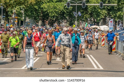 Nijmegen, The Netherlands 17th July 2018 - Walkers finishin their second day of walking at the 4 day walking tournament in Nijmegen