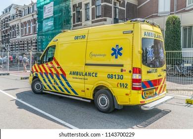 Nijmegen, The Netherlands 19th July 2018 - Ambulance just outside the Via Gladiola in Nijmegen
