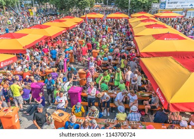 Nijmegen, The Netherlands 19th July 2018 - Busy crowd on  the Wedren on the last day of the 4 day walking tournament in Nijmegen
