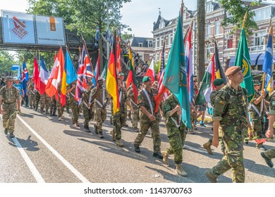 Nijmegen, The Netherlands 19th July 2018 - Flagg parade on the Via Gladiola on the last day of the 4 day walking tournament in Nijmegen