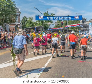 Nijmegen, The Netherlands 19th July 2018 - Walkers on the Via Gladiola on the last day of the 4 day walking tournament in Nijmegen