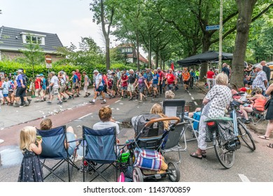 Nijmegen, The Netherlands 19th July 2018 - Visitors cheering for walkers participating in the 4 day walking tournament in Nijmegen