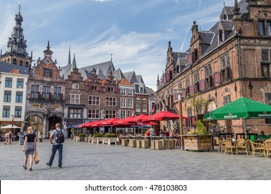 NIJMEGEN, NETHERLANDS - AUGUST 27, 2016: The central historic square with bars and restaurants in the ancient Dutch city center of Nijmegen