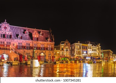 NIJMEGEN, THE NETHERLANDS - JANUARY 9, 2018: The central historic square with bars and restaurants in the ancient city center of Nijmegen, The Netherlands