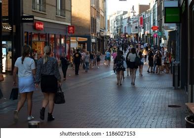 Nijmegen, Netherlands - July 5, 2018: People shopping downtown,
