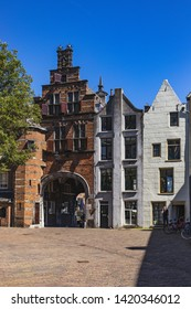 Nijmegen / Netherlands - May 13 2019 : Typically old Dutch houses on a sunny day in Nijmegen, one of the oldest cities in the Netherlands