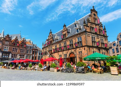 Nijmegen, Netherlands May 21, 2018: historical buildings at the Great Market with unidentified people. Nijmegen is the oldest city in the Netherlands