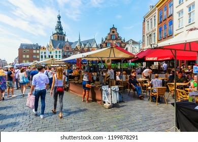 Nijmegen, Netherlands May 21, 2018: street market on the Great Market square with unidentified people. Nijmegen is the oldest city in the Netherlands