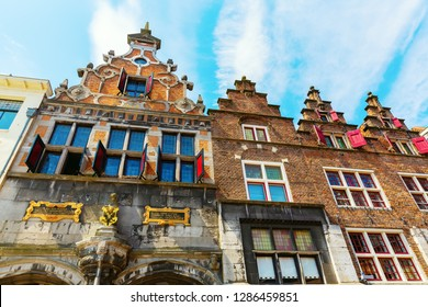 Nijmegen, Netherlands May 21, 2018: historical buildings at the Great Market. Nijmegen is the oldest city in the Netherlands