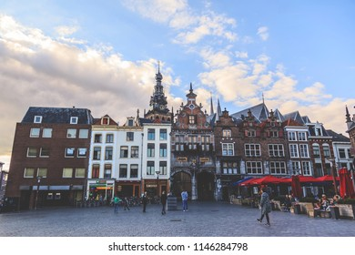NIJMEGEN, THE NETHERLANDS - OCTOBER 11, 2015: Cityscape of Nijmegen square at city center of Nijmegen, The Netherlands
