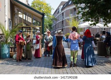 Nijmegen, The Netherlands. October 3, 2017. Medieval festival with historical characters. Dance and musical performing on the street.